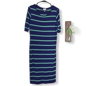 Lularoe Julia Dress 1X Blue Green Striped